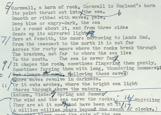 Detail of script by Jacquetta Hawkes for Figures in a Landscape, a film about sculptor Barbara Hepworth (HAW 4/8/6)